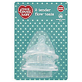 TESCO LOVES BABY TENDER FLOW TEATS MED FLOW x2
