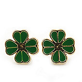 Children's/ Teen's / Kid's Tiny Grass Green Enamel 'Clover' Stud Earrings In Gold Plating - 10mm Diameter