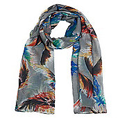 Grey Feather Print Scarf