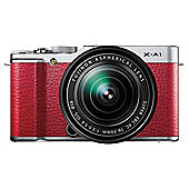 "Fujifilm X-A1 Digital Camera, Red, 16MP, 3"" LCD Screen, 16-50mm lens, Wi-Fi"