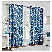 "Silhouette Floral Lined Eyelet Curtains W117xL229cm (46x90"") - Teal"