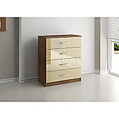 Birlea Lynx 4 Drawers Chest - Walnut and Cream