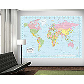 1Wall Full Colour World Map Wall Mural