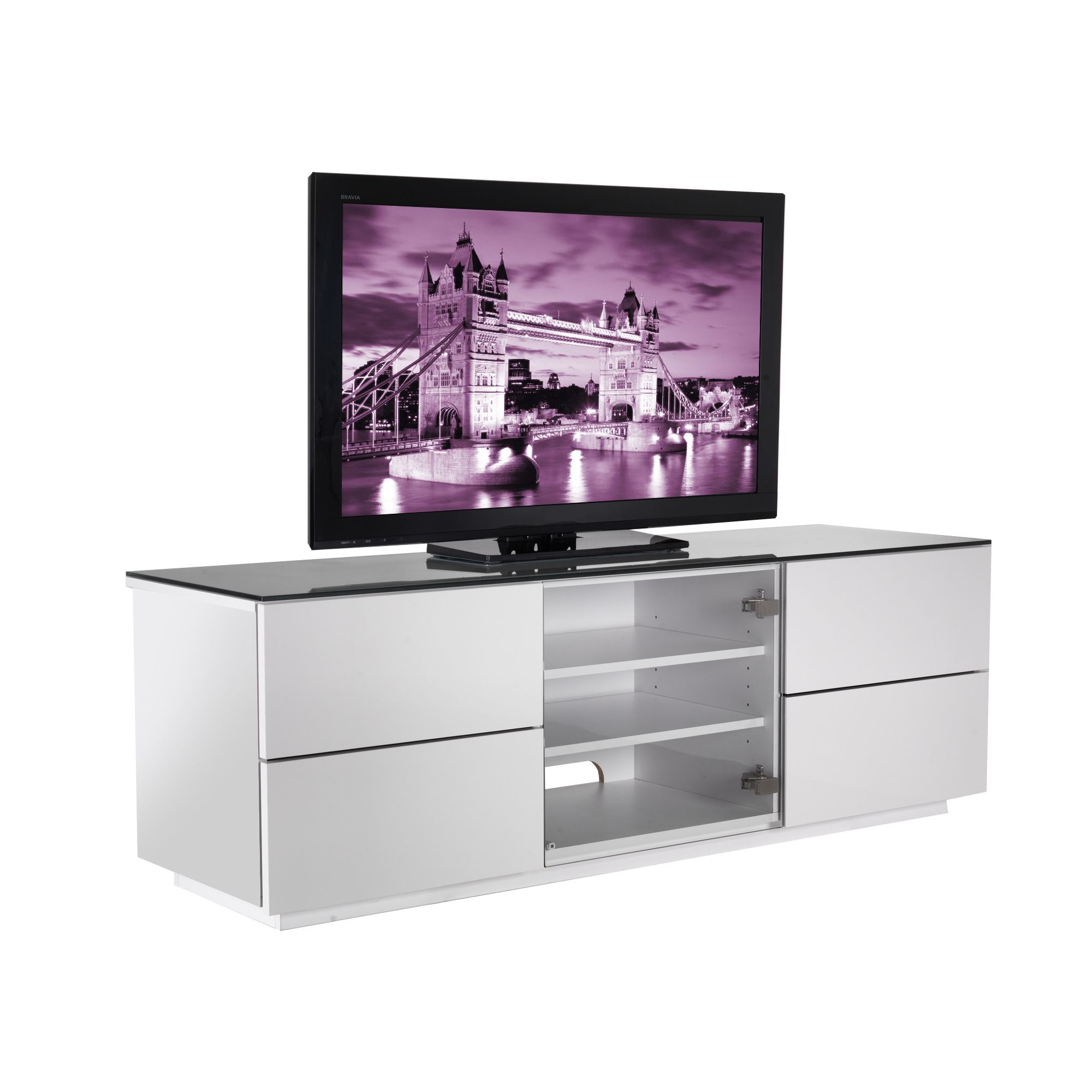 UK-CF City Scape London TV Stand - White at Tesco Direct