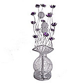 Aluminium Flower Floor Lamp in Silver & Purple