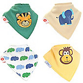 Zippy Animal Magic Bandana Dribble Bibs, 4 pack, one size
