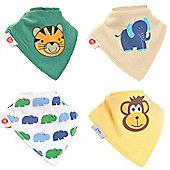Zippy Animal Magic Bandana Dribble Bibs, 4 pack, one size