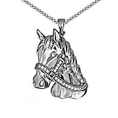 Jewelco London Rhodium Coated Sterling Silver Cubic Zirconia horse Charm Pendant - 18 inch Chain
