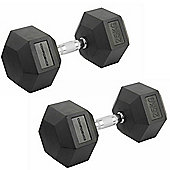 Confidence Fitness 2 X 25Kg Anti-Roll Hex Rubber-Coated Cast Dumbbells Weights