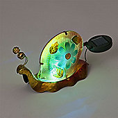 Garden Glows Solar Powered Yellow & Green Glass Snail Light