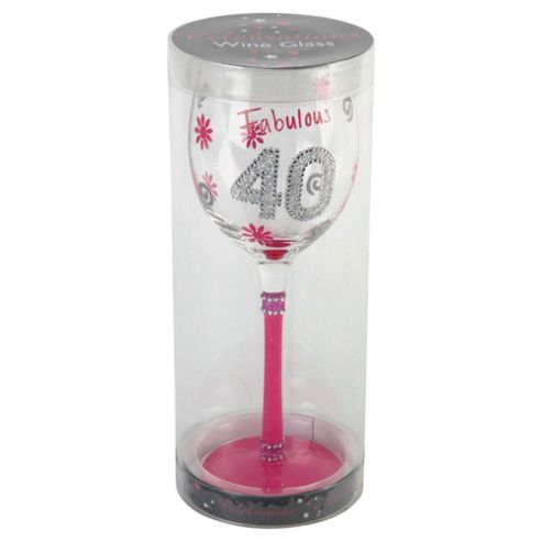 Gorgeous 40th Wine Glass