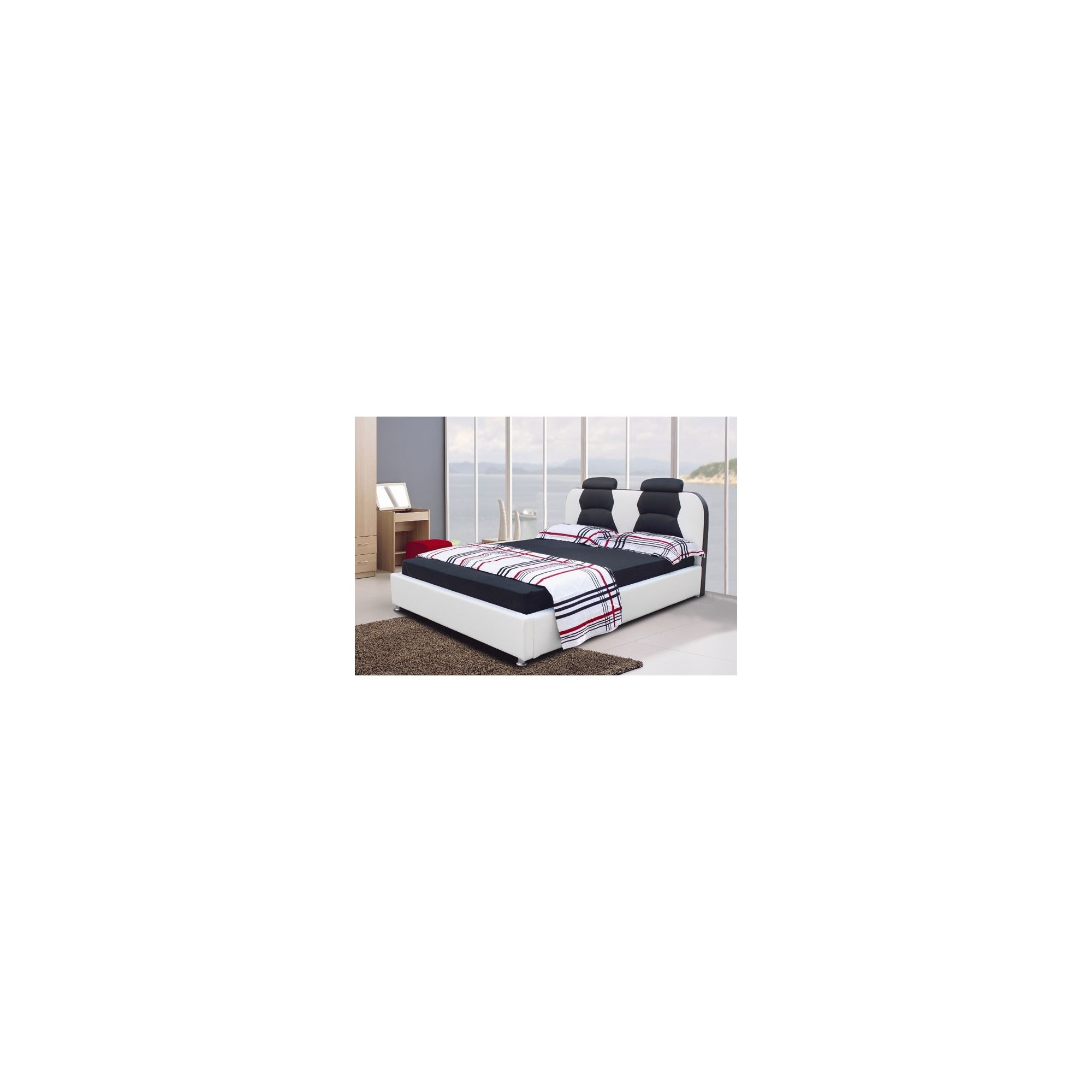 Giomani Designs Designer Double Bed - White / Black at Tesco Direct