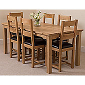 Aspen Solid Oak 180 cm Dining Table with 6 Brown Lincoln Chairs