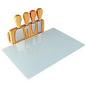 Occasion Glass Magnetic Cheese Board with 4 Cheese Knives