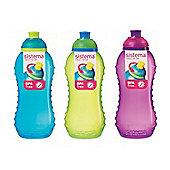 3 Sistema 330ml Drink Bottles, Aqua Blue, Lime Green, Pink