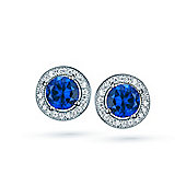 The REAL Effect Rhodium Plated Sterling Silver Sapphire-Blue-Colour Cubic Zirconia Stud Earrings