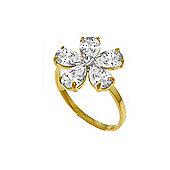 QP Jewellers Diamond & White Topaz Foliole Ring in 14K Gold