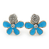 Light Blue Enamel Diamante 'Daisy' Clip On Earrings In Rhodium Plating - 25mm Diameter