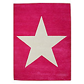 Lorena Canals Star Fuschia Children's Rug - 140 cm W x 200 cm D (4 ft 9 in x 6 ft 6.5 in)