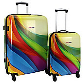 Swiss Case 4 Wheel Spinner 2Pc Strong Abs Suitcase / Luggage Set Wave