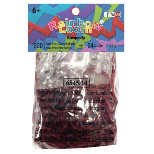 Rainbow Loom Official Burgundy Rubber Bands Refill 600 count + 24 C-clips