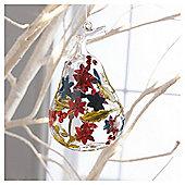 Gisela Graham Glass Floral Design Pear Hanging Decoration