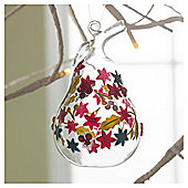 Gisela Graham Glass Floral Design Pear Hanging Decoration