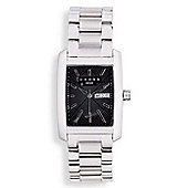 """Cross Manhattan Men's rectangle, all Stainless Steel/black face watch"""