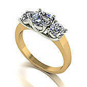 18ct Gold 3 Stone Lucern Setting Moissanite Ring