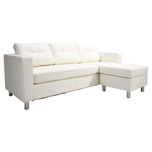 Leader Lifestyle Osaka Chaise Sofa - White Faux Leather