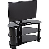 AVF Curved Glass TV Stand For up to 40 inch TVs - Black Glass and Black Legs