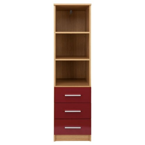 Jazz 3 Drawer Storage Unit, Oak/Red Gloss