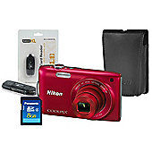 DS Nikon Coolpix S3300 Red Camera Kit inc Leather Case, 8GB SD & USB Card Reader