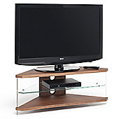 "Techlink Air Acrylic and Glass 46"" Corner TV Stand - Walnut"
