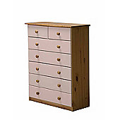 Verona Drawer Chest 5 + 2 Colour Antique and Pink