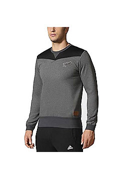 adidas New Zealand All Blacks Off Field Crew Sweatshirt 15/16 - Grey