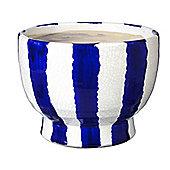 Parlane Blue & White Terracotta Striped Flower / Plant Pot - 17.5 x 22.5cm