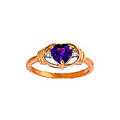 QP Jewellers Diamond & Amethyst Halo Heart Ring in 14K Rose Gold