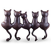 Cast Iron Look Five Cats Coat Hook Rack Wall Art