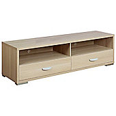 Ultimum Claire Low Wide 2 Drawer Beech TV Stand