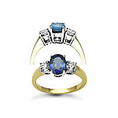 Jewelco London 18 Carat Yellow Gold 3 Stone Diamond-48pt Sapphire -1.50ct Ring