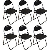 Pack of 6 Chairs - Black Padded Folding Office, Computer, Desk Chairs