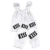 Spoilt Rotten - Kiss Kiss Knot Hat & Scratch Mits Baby Set