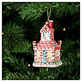 Festive Candy Cane House Hanging Decoration