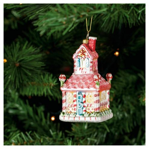 Festive Candy Cane House Hanging Christmas Bauble Decoration