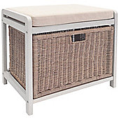 Wicklow - Laundry Hamper / Storage Stool - White / Cream