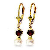 QP Jewellers Garnet & Pearl Dazzle Leverback Earrings in 14K Gold