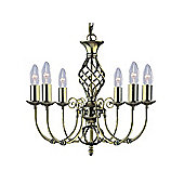 6 Arm Old Fashioned Ornate Hanging Light with Twisted Metalwork