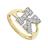 Jewelco London 9ct Gold Ladies' Identity ID Initial CZ Ring, Letter K - Size L