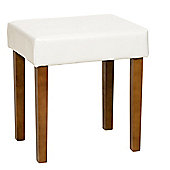 Home Essence Eastcastle Upholstered Stool in Ivory Faux Leather